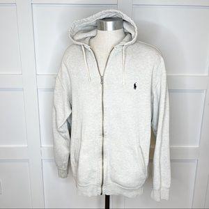 Polo Ralph Lauren Full Zip Hoodie Distressed Gray